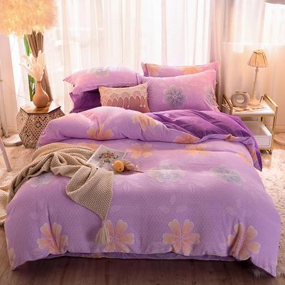 2019新款雕花宝宝绒四件套 1.2m床单款三件套 浪花朵朵-紫