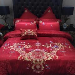 2018新款高端婚庆系列60贡缎提花四件套(百子图) 2.0m(6.6英尺)床 小抱枕(含芯)个