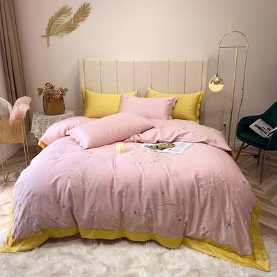 2019新款60长绒棉四件套 1.8m(6英尺)床 星空-粉
