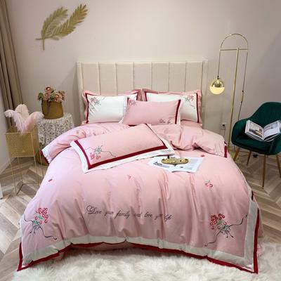 2019新款60长绒棉四件套 1.8m(6英尺)床 樱桃-粉色