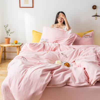 2019新款牛奶绒四件套 1.2m(4英尺)床 胡萝卜-粉