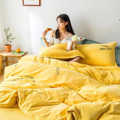 2019新款牛奶绒四件套 1.8m(6英尺)床 胡萝卜-黄
