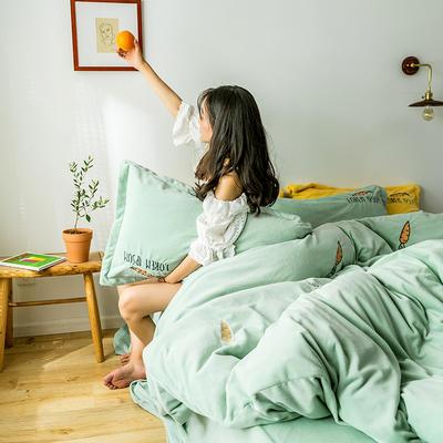 2019新款牛奶绒四件套 1.8m(6英尺)床 胡萝卜-水绿