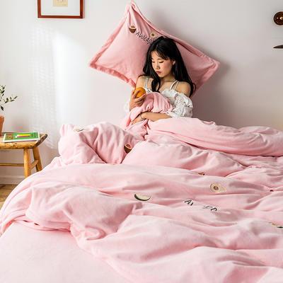 2019新款牛奶绒四件套 1.8m(6英尺)床 牛油果-粉