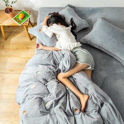 2019新款牛奶绒四件套 1.8m(6英尺)床 牛油果-灰
