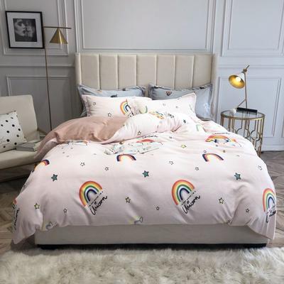 2019新款印花牛奶绒四件套 1.8m(6英尺)床 小雏菊-黄