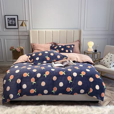 2019新款印花牛奶绒四件套 1.8m(6英尺)床 蜜橙