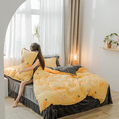 2019新品棉加绒磨毛水晶绒四件套 1.2m(4英尺)床 爱情口粮
