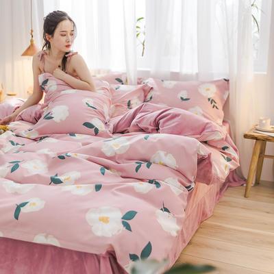 2019新品棉加绒磨毛水晶绒四件套 1.2m(4英尺)床 初恋