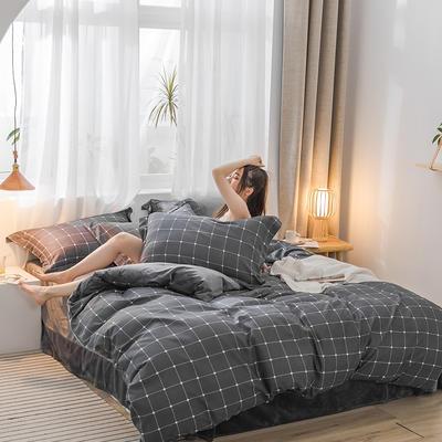 2019新品棉加绒磨毛水晶绒四件套 1.2m(4英尺)床 都市情调