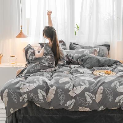 2019新品棉加绒磨毛水晶绒四件套 1.2m(4英尺)床 深情玉叶