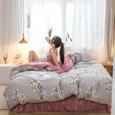 2019新品棉加绒磨毛水晶绒四件套 1.2m(4英尺)床 香情
