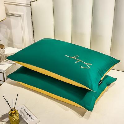 2020新款全棉贡缎长绒棉刺绣-枕套 48cmX74cm 1墨绿+姜黄