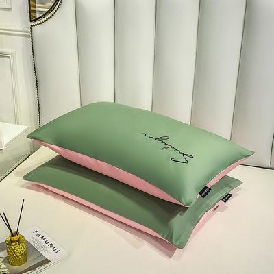 2020新款全棉贡缎长绒棉刺绣-枕套 48cmX74cm 6灰绿+奶油粉