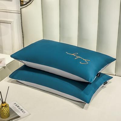 2020新款全棉贡缎长绒棉刺绣-枕套 48cmX74cm 10月光蓝+浅灰