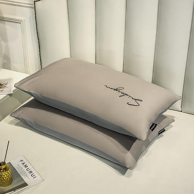 2020新款全棉贡缎长绒棉刺绣-枕套 48cmX74cm 11米驼+浅灰