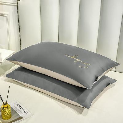 2020新款全棉贡缎长绒棉刺绣-枕套 48cmX74cm 14绅士灰+米驼