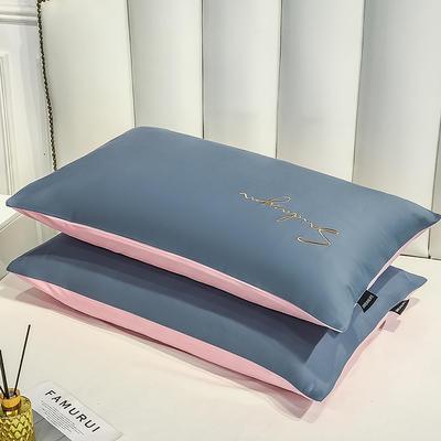 2020新款全棉贡缎长绒棉刺绣-枕套 48cmX74cm 15紫灰+奶油粉