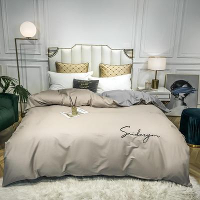 2020新款全棉贡缎长绒棉刺绣-被套 180x220cm 米驼+浅灰