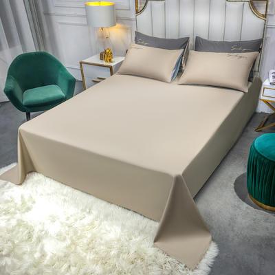 2020新款全棉贡缎长绒棉刺绣-床单 245cmx250cm 米驼