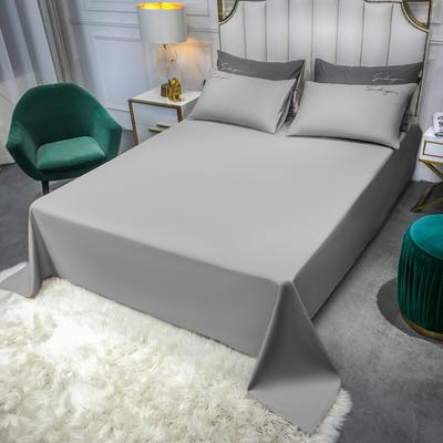 2020新款全棉贡缎长绒棉刺绣-床单 245cmx250cm 浅灰