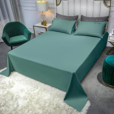 2020新款全棉贡缎长绒棉刺绣-床单 245cmx250cm 浅石绿