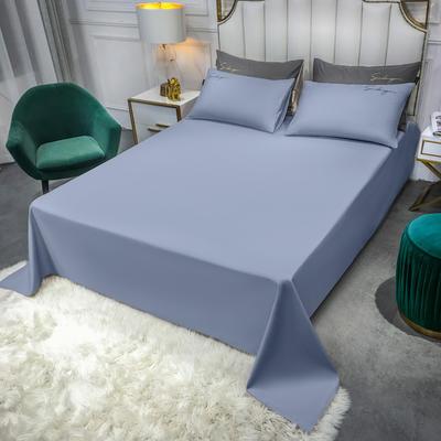 2020新款全棉贡缎长绒棉刺绣-床单 245cmx250cm 紫灰