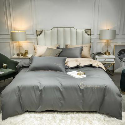 2020新款全棉贡缎长绒棉刺绣四件套系列 1.5m床单款四件套 高级灰+米驼