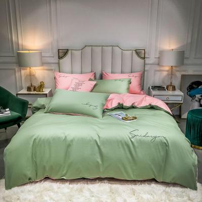 2020新款全棉贡缎长绒棉刺绣四件套系列 1.5m床单款四件套 灰绿+奶油粉