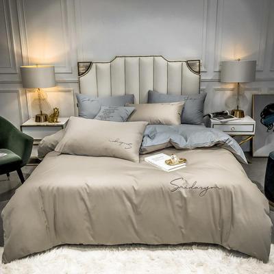2020新款全棉贡缎长绒棉刺绣四件套系列 1.5m床单款四件套 米驼+浅灰