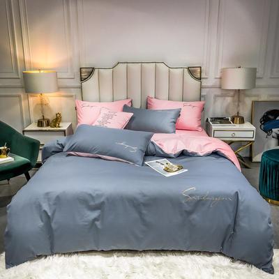 2020新款全棉贡缎长绒棉刺绣四件套系列 1.5m床单款四件套 紫灰+奶油粉