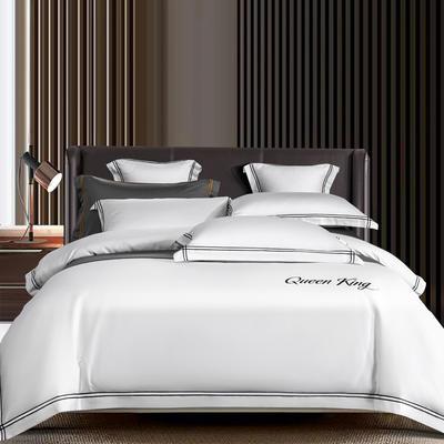 2021新品-高档酒店款全棉贡缎长绒棉刺绣系列 1.2m床单款三件套 艾米特-白