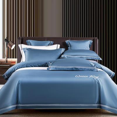 2021新品-高档酒店款全棉贡缎长绒棉刺绣系列 1.5m床单款四件套 艾米特-宾利蓝
