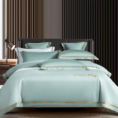 2021新品-高档酒店款全棉贡缎长绒棉刺绣系列 1.2m床单款三件套 艾米特-梵星蓝