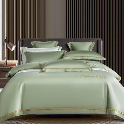 2021新品-高档酒店款全棉贡缎长绒棉刺绣系列 1.2m床单款三件套 艾米特-灰绿