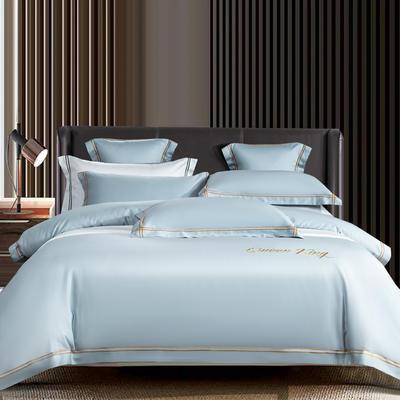 2021新品-高档酒店款全棉贡缎长绒棉刺绣系列 1.5m床单款四件套 艾米特-蓝