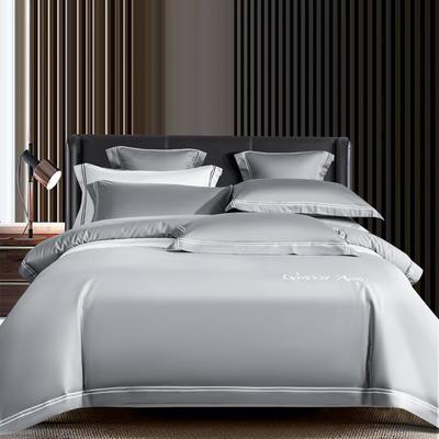 2021新品-高档酒店款全棉贡缎长绒棉刺绣系列 1.2m床单款三件套 艾米特-浅灰
