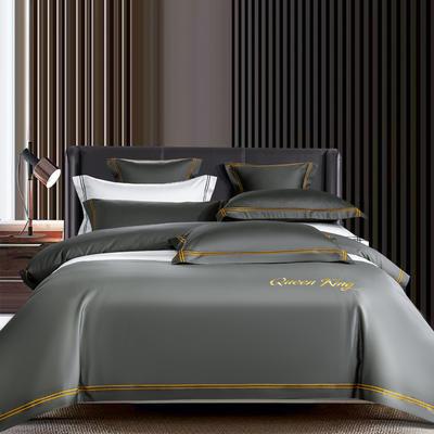 2021新品-高档酒店款全棉贡缎长绒棉刺绣系列 1.5m床单款四件套 艾米特-绅士灰