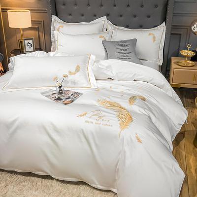 2021秋冬新款全棉长绒棉兰卡威系列刺绣款四件套 1.2m床单款三件套 兰卡威-白