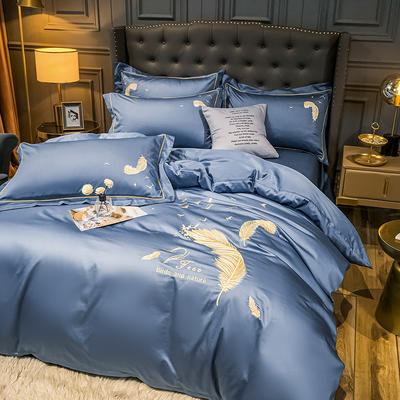 2021秋冬新款全棉长绒棉兰卡威系列刺绣款四件套 1.5m床单款四件套 兰卡威-宾利蓝