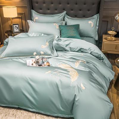 2021秋冬新款全棉长绒棉兰卡威系列刺绣款四件套 1.2m床单款三件套 兰卡威-梵星蓝