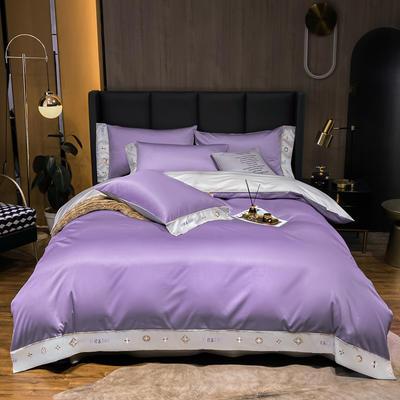 2021新品-高档酒店款全棉贡缎长绒棉刺绣四件套 卡夫艾迪系列 1.2m床单款三件套 卡夫-曼紫+银灰