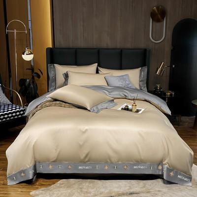 2021新品-高档酒店款全棉贡缎长绒棉刺绣四件套 卡夫艾迪系列 1.2m床单款三件套 卡夫-香槟+绅士灰