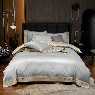 2021新品-高档酒店款全棉贡缎长绒棉刺绣四件套 卡夫艾迪系列 1.2m床单款三件套 卡夫-银灰+香槟