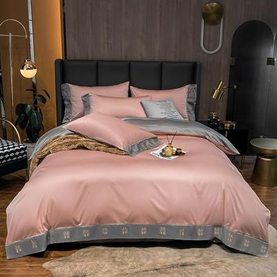 2021新品-高档酒店款全棉贡缎长绒棉刺绣四件套 卡夫艾迪系列 1.2m床单款三件套 艾迪-豆沙+绅士灰