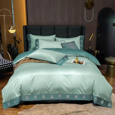 2021新品-高档酒店款全棉贡缎长绒棉刺绣四件套 卡夫艾迪系列 1.2m床单款三件套 艾迪-梵星蓝+浅石蓝