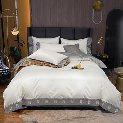 2021新品-高档酒店款全棉贡缎长绒棉刺绣四件套 卡夫艾迪系列 1.2m床单款三件套 艾迪-峰白+绅士灰