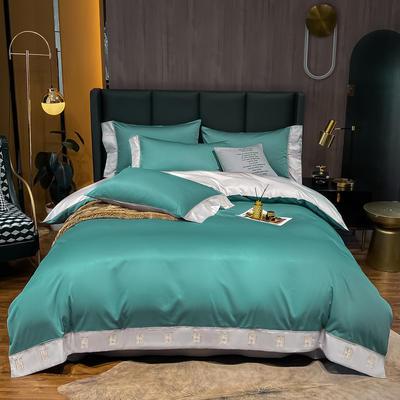 2021新品-高档酒店款全棉贡缎长绒棉刺绣四件套 卡夫艾迪系列 1.2m床单款三件套 艾迪-浅石蓝+银灰