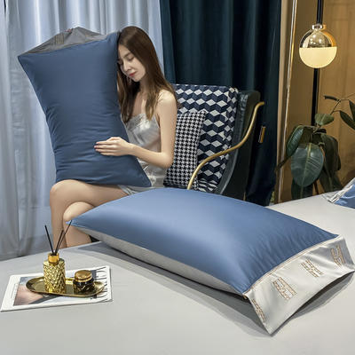 2021新款艾迪&卡夫-单枕套 枕套48*74 艾迪-宾利蓝+银灰