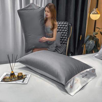 2021新款艾迪&卡夫-单枕套 枕套48*74 卡夫-绅士灰+银灰